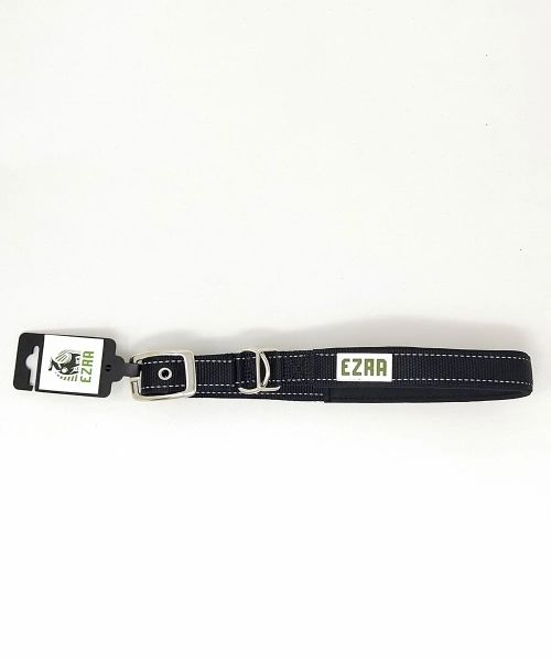 Ezra Single Thick Reflective 19 mm Dog Collar - Black