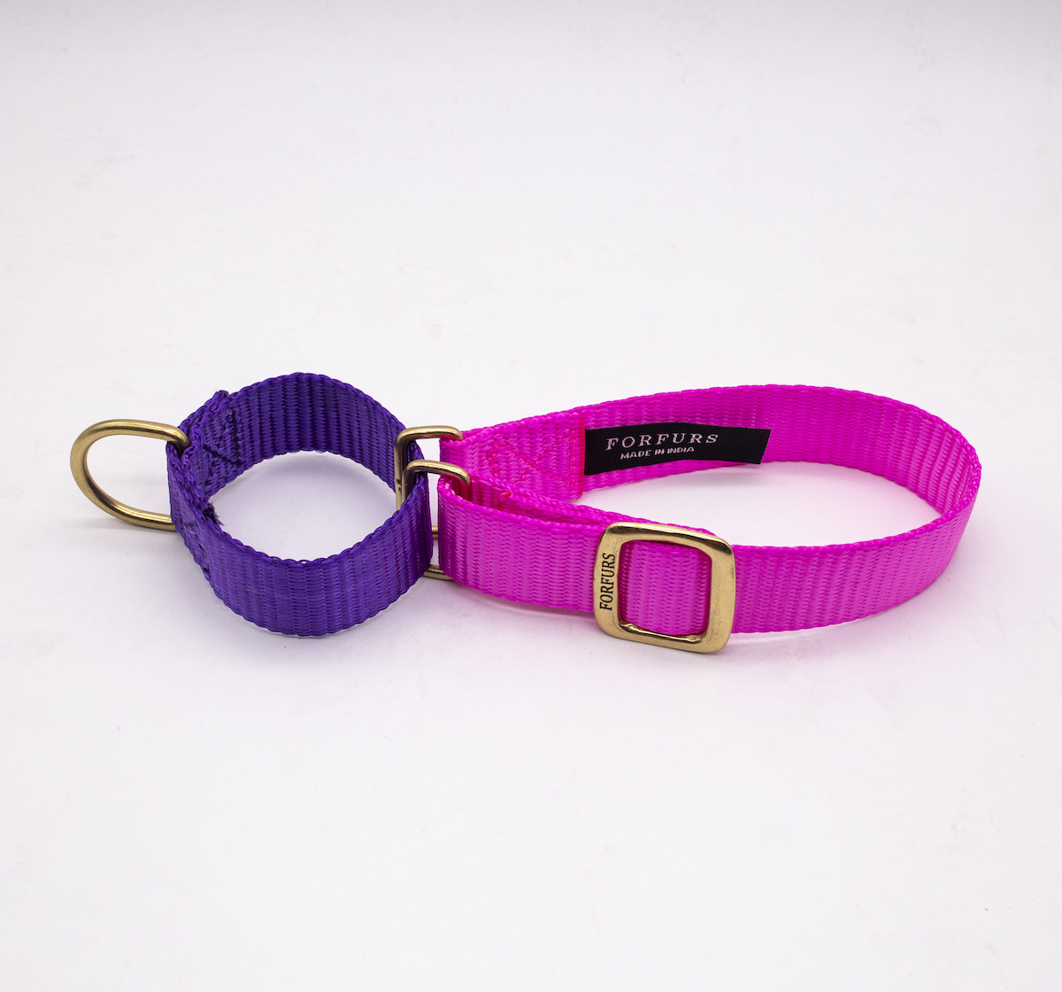 Forfurs Duo Martingale Collar Hot Pink & Ultra Violet - Small