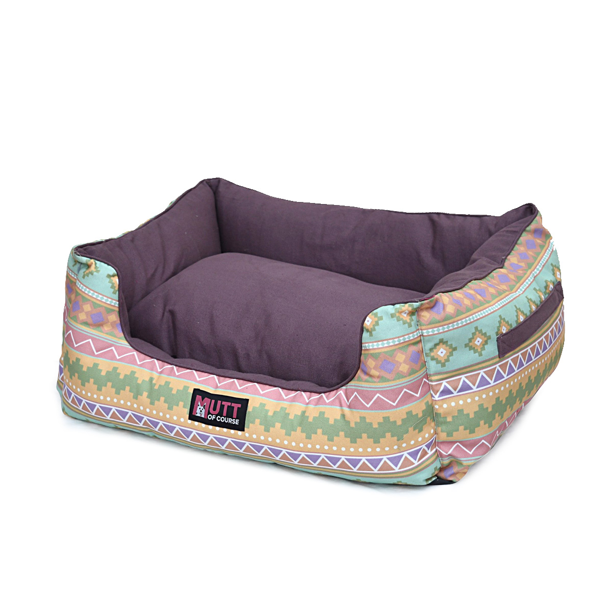 Mutt Of Course Lounger Bed For Dogs - Aztec Printe  - Medium