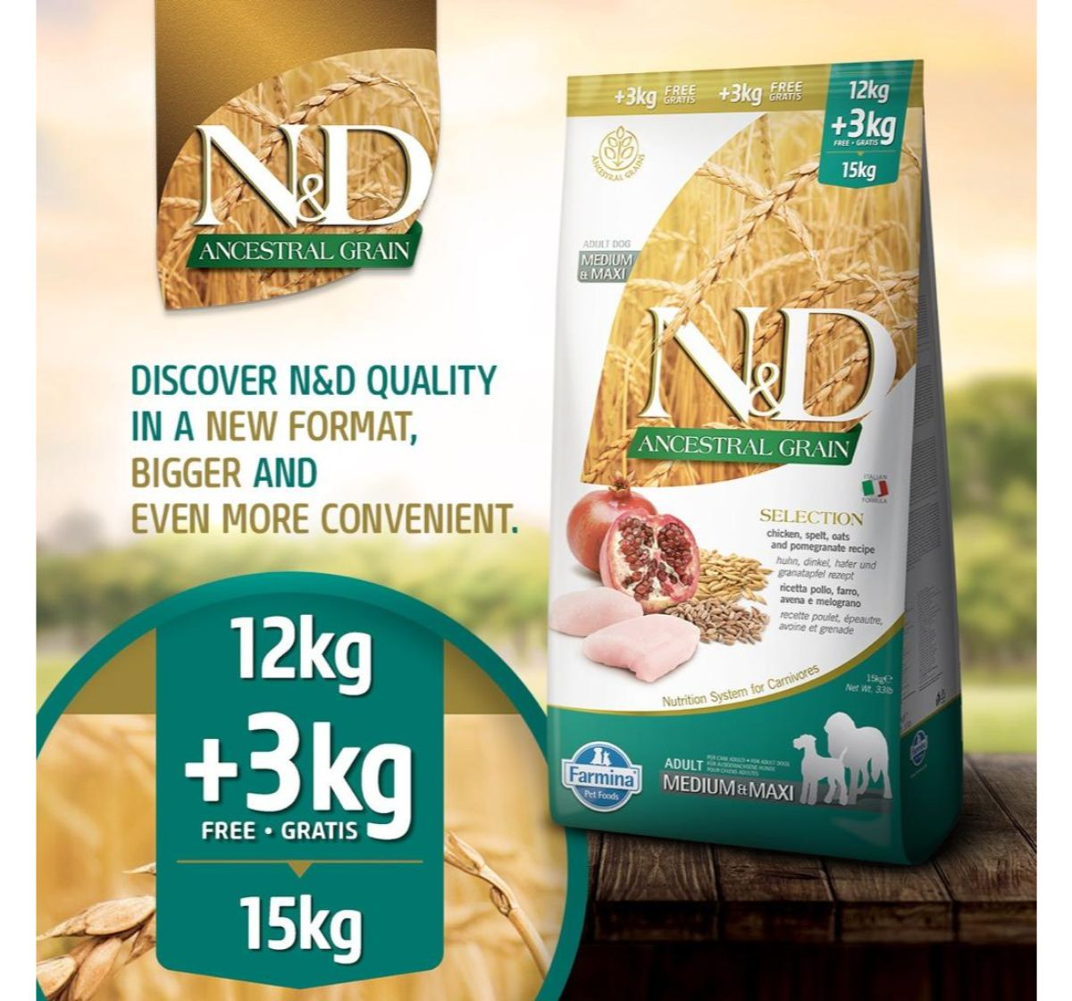 Farmina N&D Dry Dog Food Ancestral Grain Chicken & Pomegranate Adult Medium & Maxi Breed - 12 Kg Free 3 kg