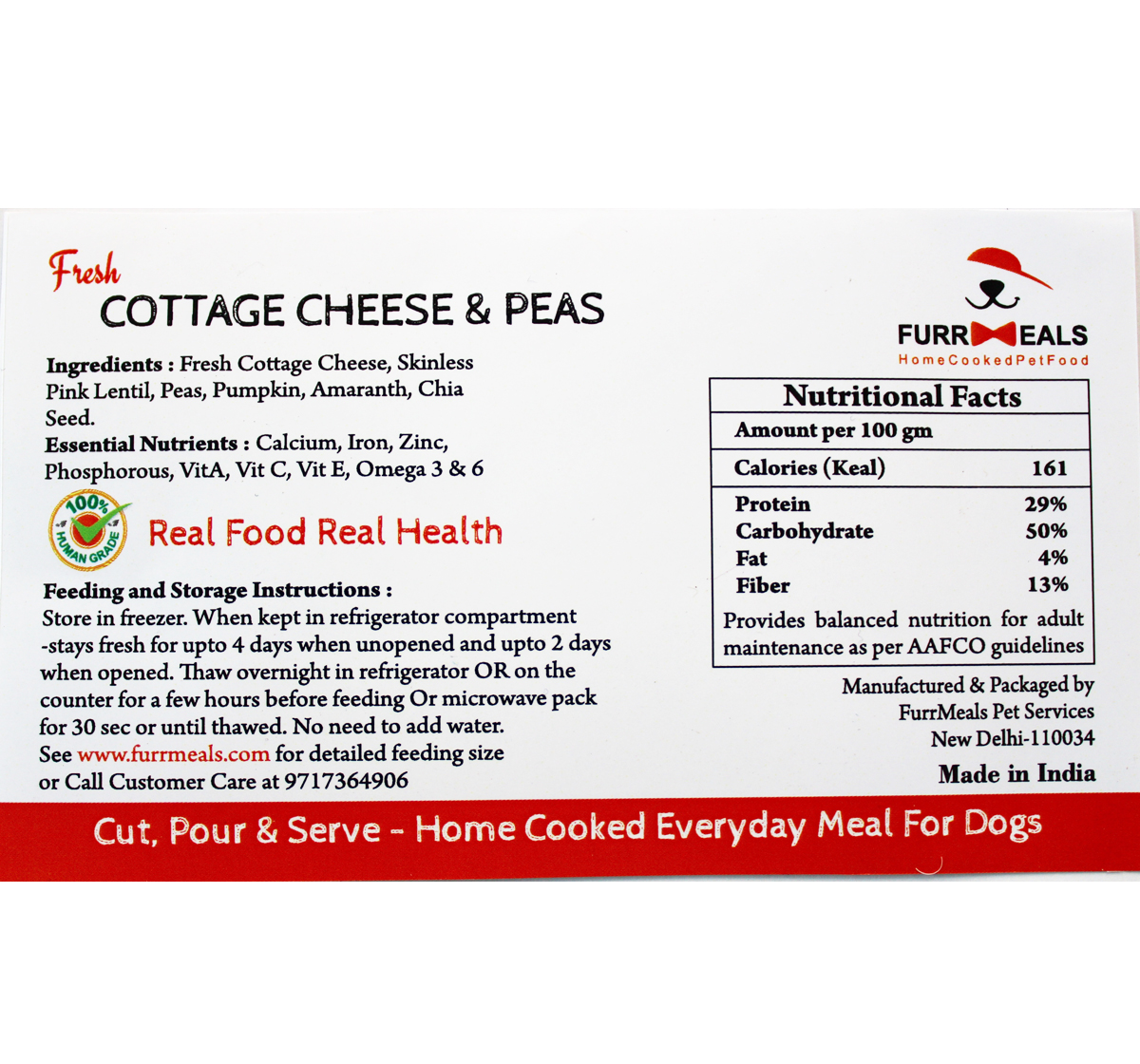 FurrMeals Fresh Cottage Cheese & Peas Home cooked Adult Dog Food - 1 kg