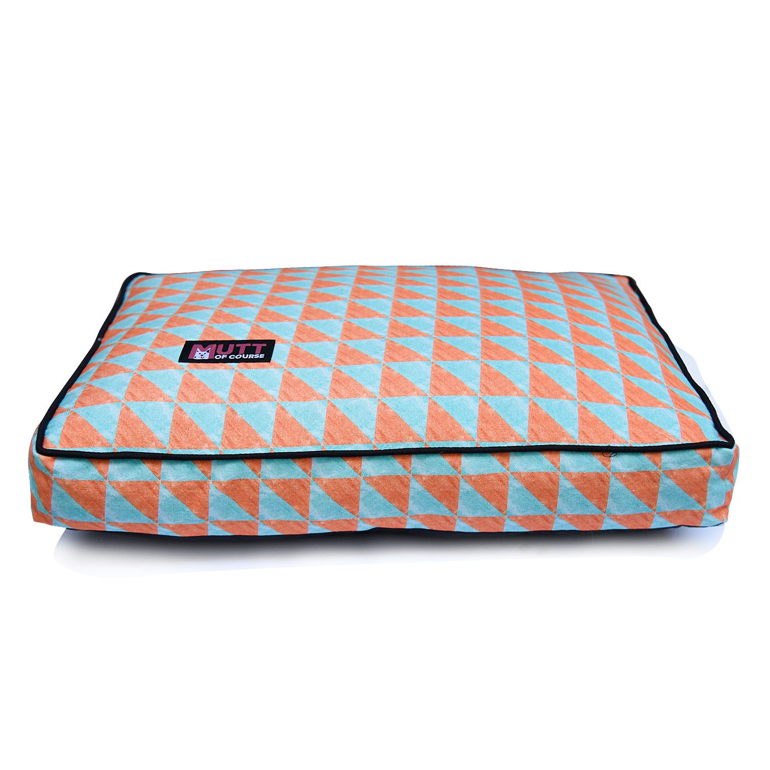 Mutt Of Course Water Color Rust & Blue Flat Bed - XXlarge
