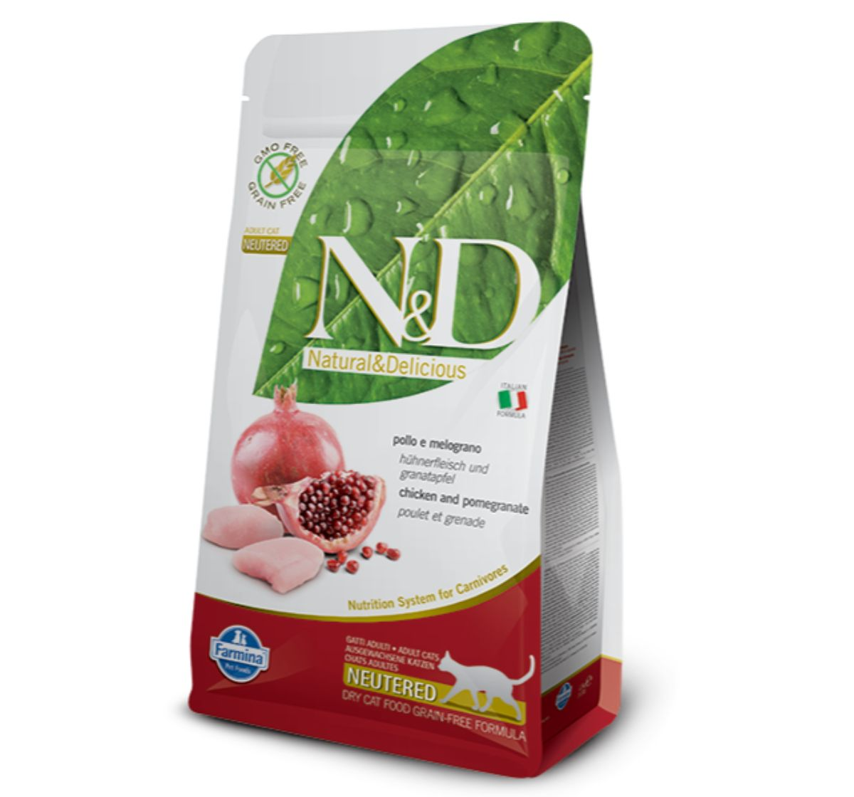 Farmina N&D Dry Cat Food Grain Free Chicken & Pomegranate Adult Neautered Cat - 1.5 Kg (Pack Of 8)