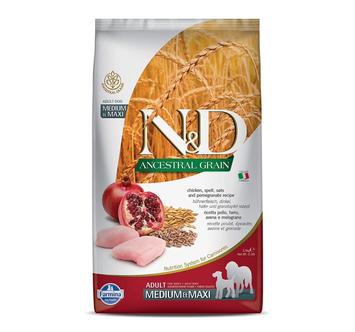 Farmina N&D Dry Dog Food Ancestral Grain Chicken & Pomegranate Adult Medium & Maxi Breed - 2.5 Kg