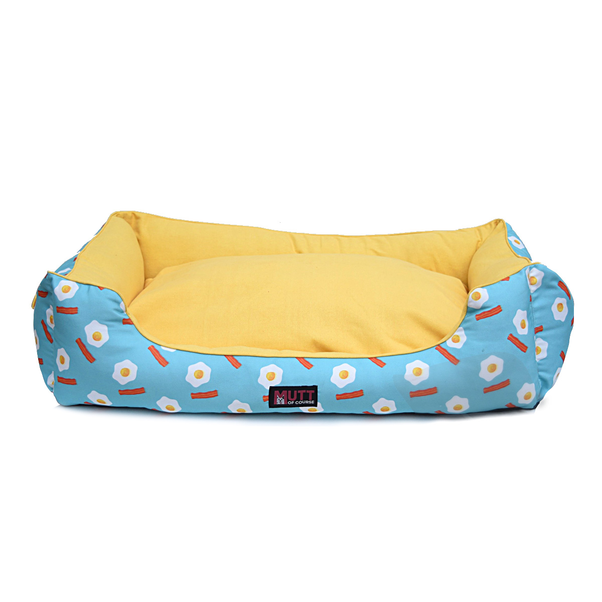Mutt Of Course Lounger Bed For Dogs - Eggs N Bacon - Small